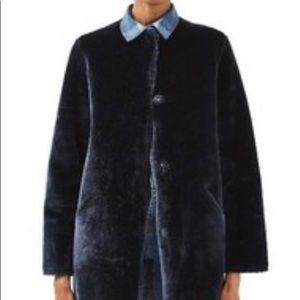 Topshop Faux Fur Navy Coat